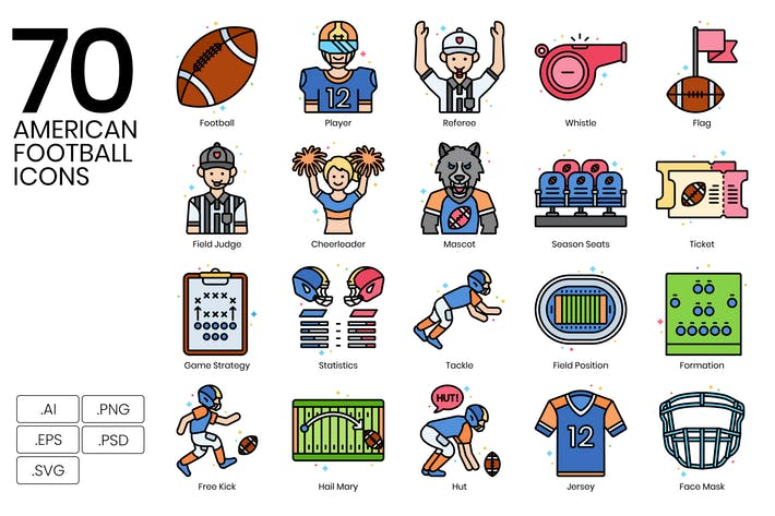 Thumbnail for 70 American Football Icons | Vivid Series