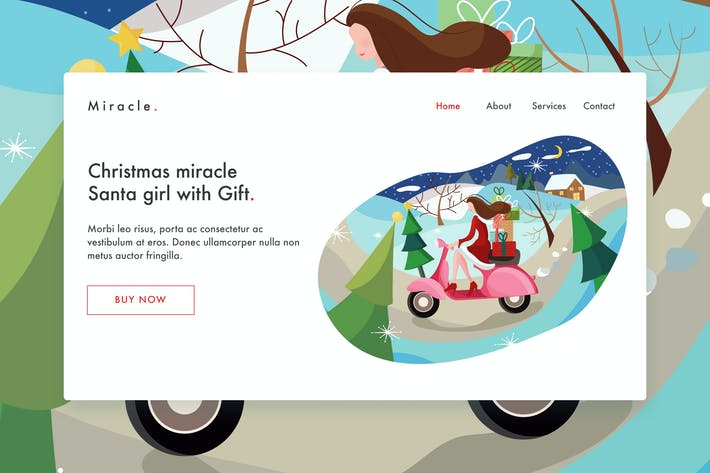 Thumbnail for Santa girl with gift Vector Illustration Landing