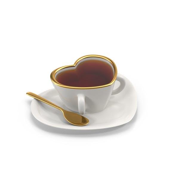 Taza de té en forma de corazón con té