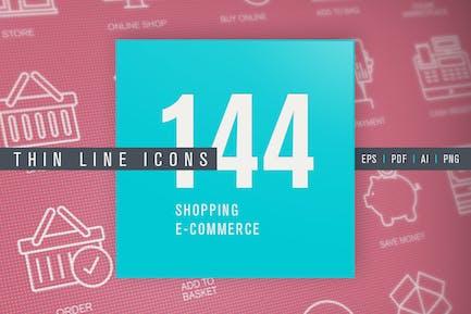 Conjunto de Íconos de línea fina para compras y comercio electrónico