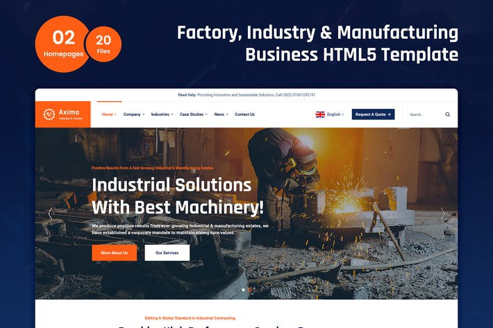 Thumbnail for Axima - Factory and Industry HTML5 Template