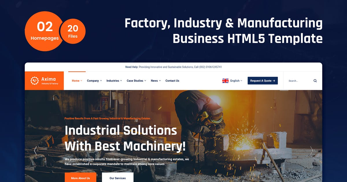 Download Axima - Factory and Industry HTML5 Template by 7oroof