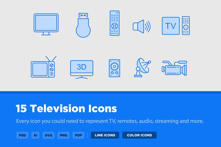 Thumbnail for 15 TV & Television Icons