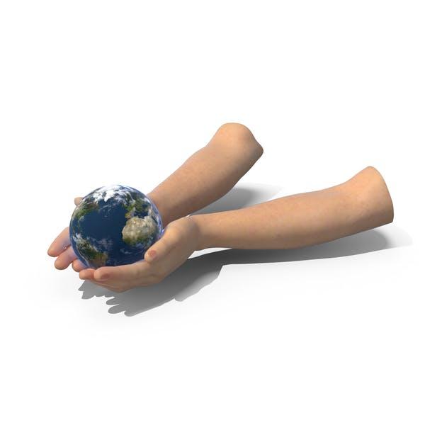 Hände zusammen Erde