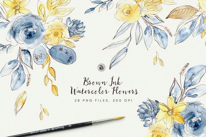 Thumbnail for Braune Tinte Aquarell Blumen