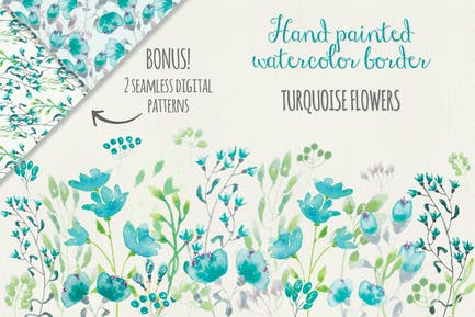 Turquoise Floral Border