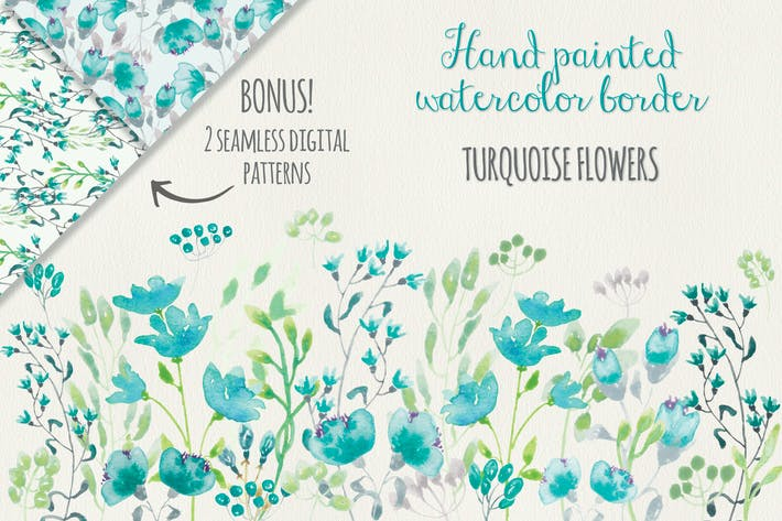 Thumbnail for Turquoise Floral Border