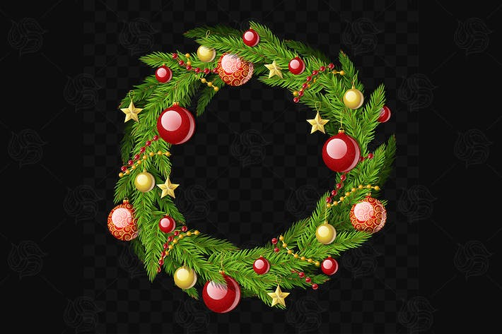 Thumbnail for Christmas wreath - vector realistic object