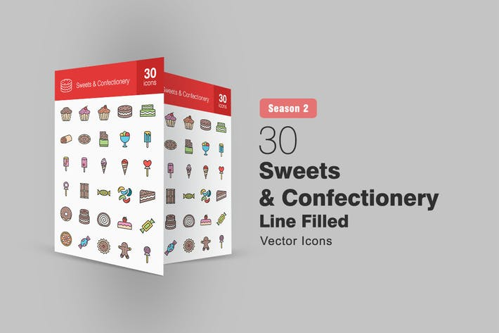 Thumbnail for 30 Sweets & Confectionery Filled Line Icons