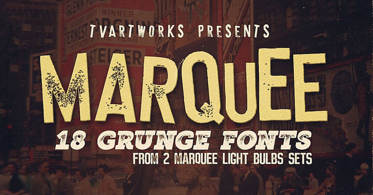 Download Marquee - 18 Grunge Fonts by cruzine
