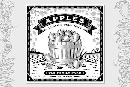 Etiqueta de cosecha de manzana Retro con Horizontal
