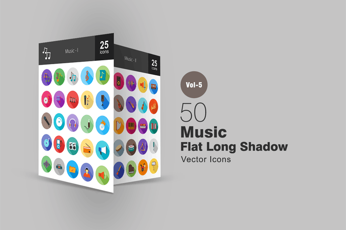 Thumbnail for 50 Music Flat Shadowed Icons
