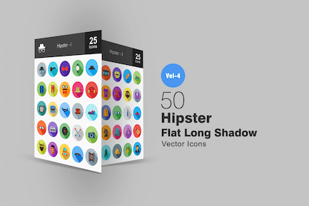 50 Hipster Flat Long Shadow Icons