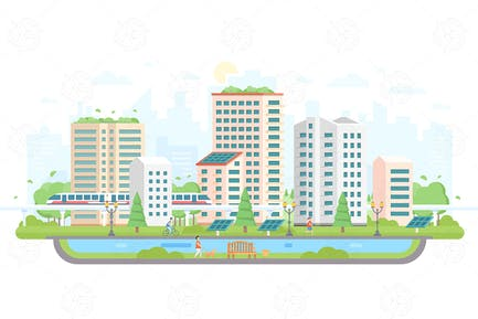 Cityscape with solar panels - flat illustration