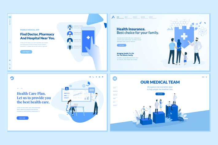 Thumbnail for Set of Medical Web Page Design Templates