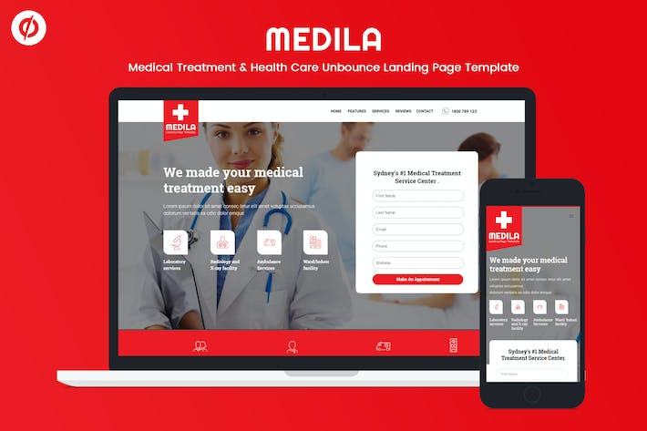 Medila - Medical & Health Care Unbounce Modèle