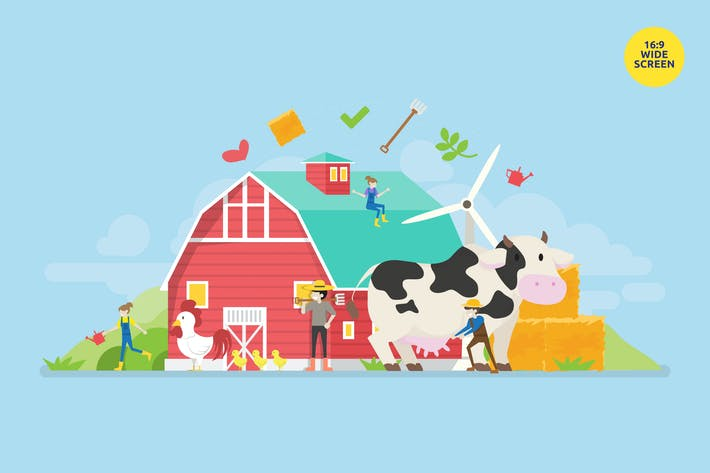 Thumbnail for Modern Organic Farm Vector Concept Illustration