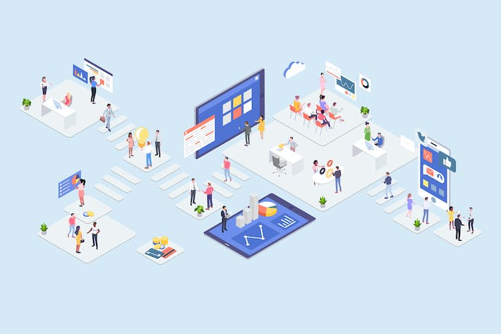 Cover Image For Startup Concept Isometric Illustration