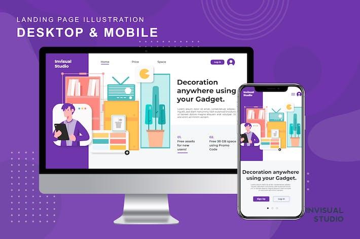 Mobile Decoration - Landingpage Ilustration
