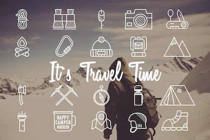 20 Mountain Camp Explorer Identity & Travel Icons