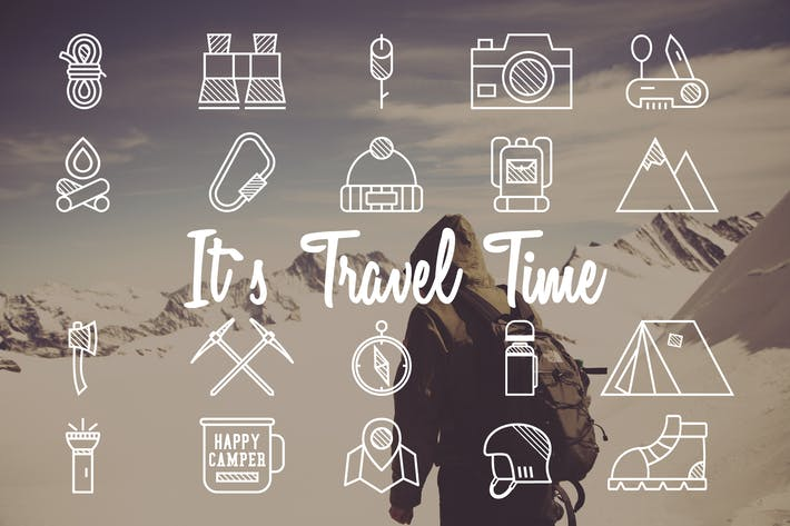 Thumbnail for 20 Mountain Camp Explorer Identity & Travel Icons