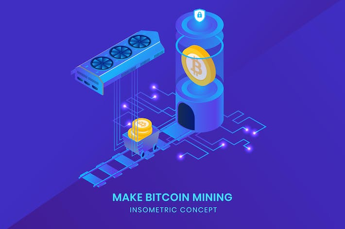 Cover Image For Make Bitcoin Mining - Insometric Vector