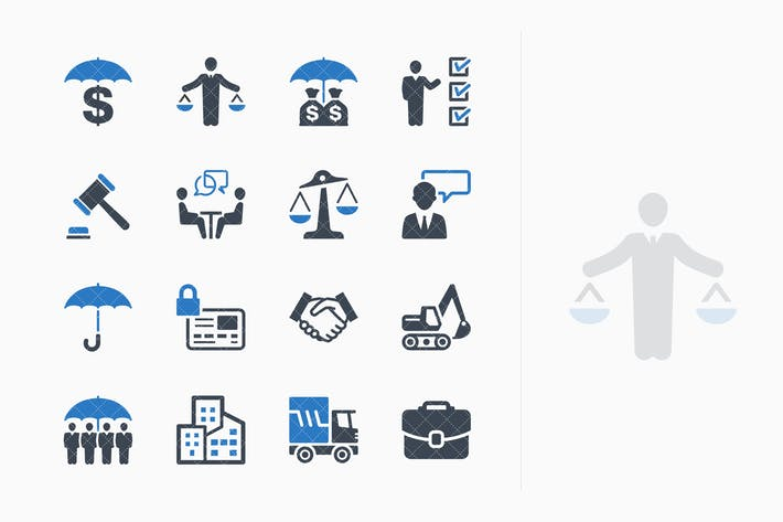 Thumbnail for Business Insurance Icons - Blue Series