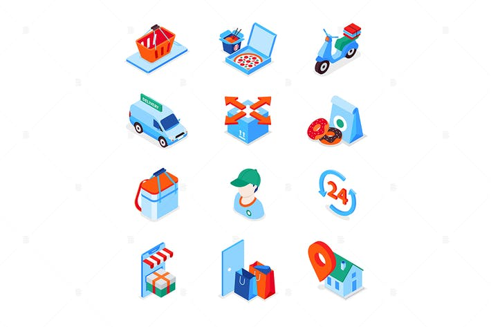 Thumbnail for Food delivery service - modern isometric icons set