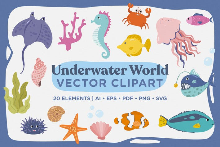 Cover Image For Unterwasserwelt Vektor Clipart Pack