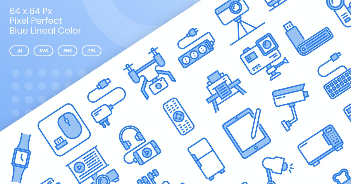 Download 40 Electronics Device Icon Set - Blue Lineal Color by kmgdesignid