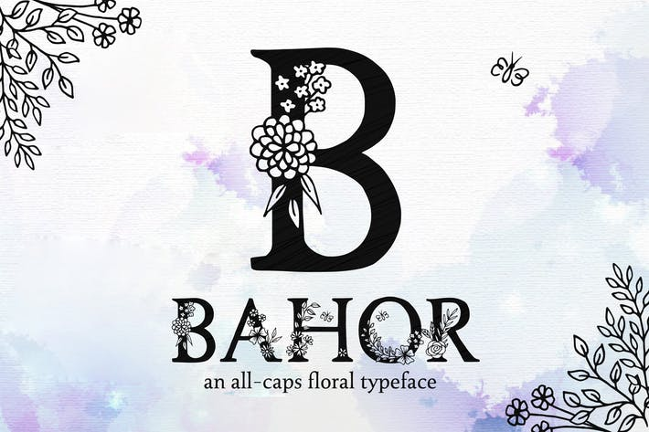 Thumbnail for Bahor - Hand Made Floral Typeface