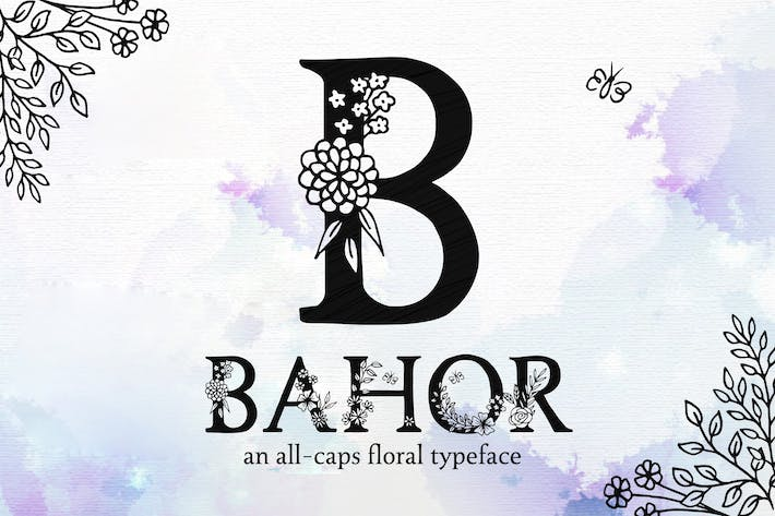 Bahor - Hand Made Floral Typeface