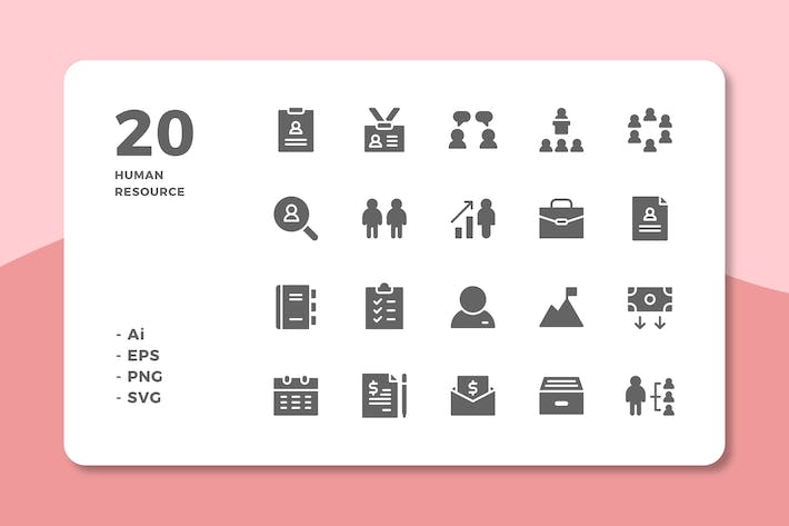 Thumbnail for 20 Human Resource Icons (Solid)
