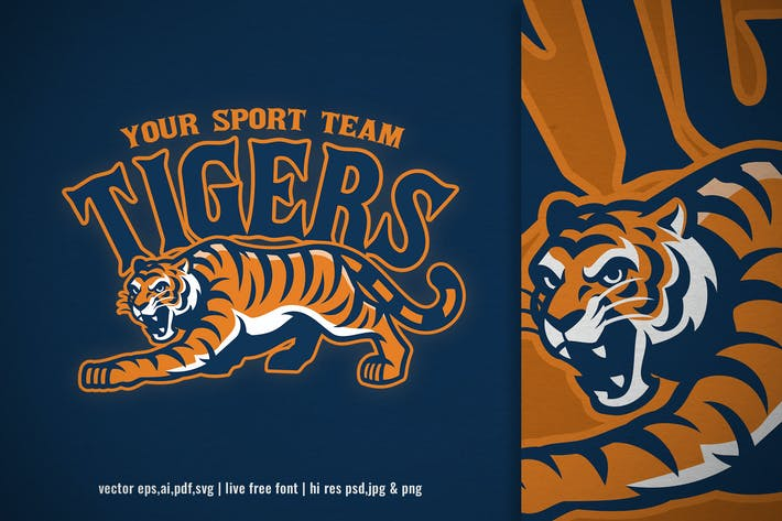 Thumbnail for crouching tiger mascot for sport and e-sport logo