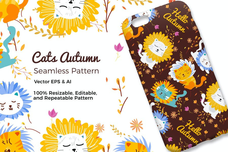 Cats Autumn Pattern