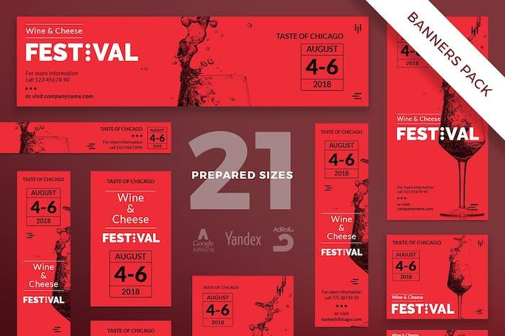 Thumbnail for Wine Festival Banner Pack Template