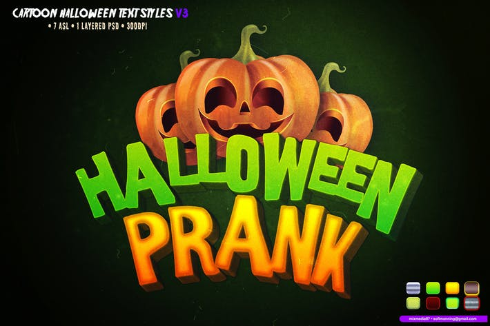 Thumbnail for Cartoon Halloween Text Styles