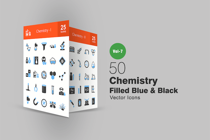 Thumbnail for 50 Chemistry Blue & Black Icons