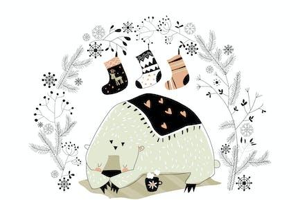 Cartoon Eisbär mit Weihnachtskranz und Socken