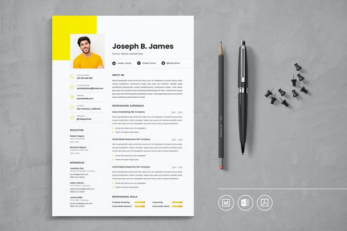 Thumbnail for Professional CV Resume Indesign Template Vol.12