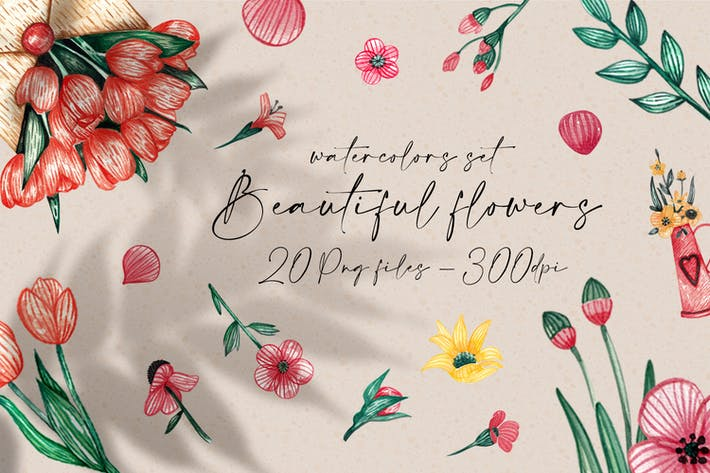 Beautiful Flowers Clipart Watercolors
