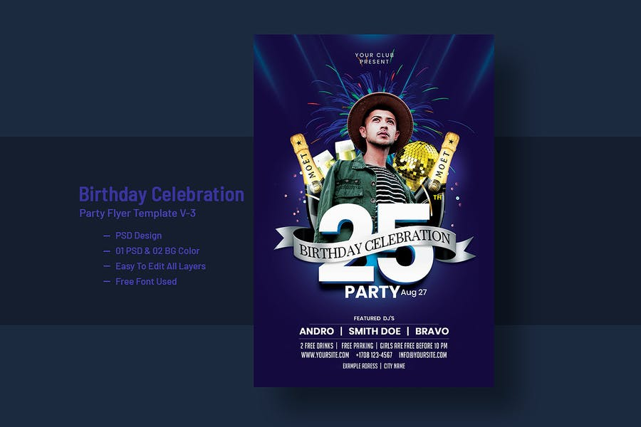 Birthday Celebration Party Flyer Template V-3