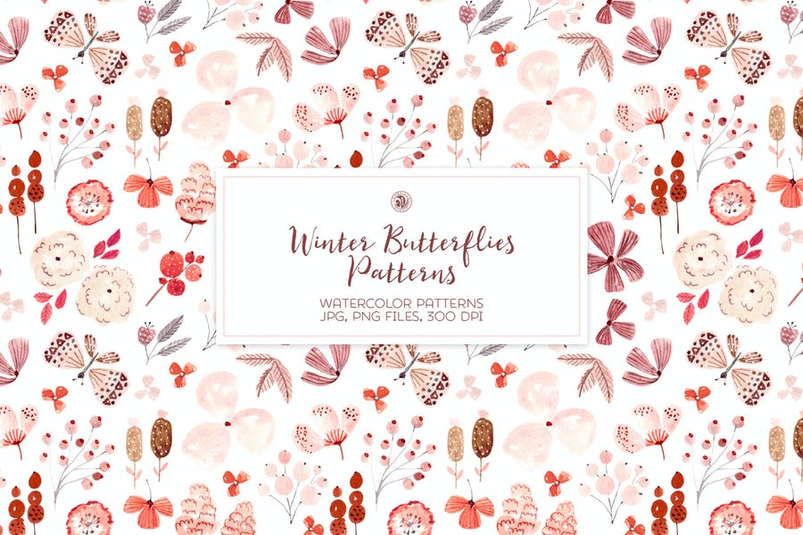 Winter Butterflies - watercolor patterns set