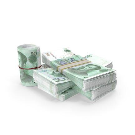 Kleiner Haufen chinesischer Yuan Stacks