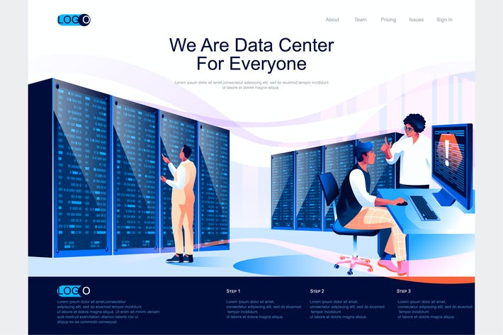 Thumbnail for Data Center Isometric Landing Page Template
