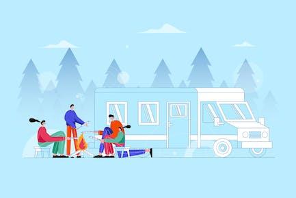 Camping en famille ensemble dans la forêt