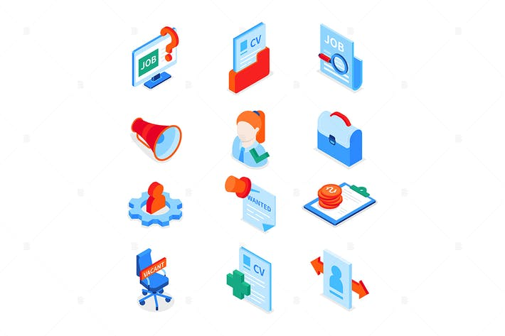 Thumbnail for Job search - modern colorful isometric icons set