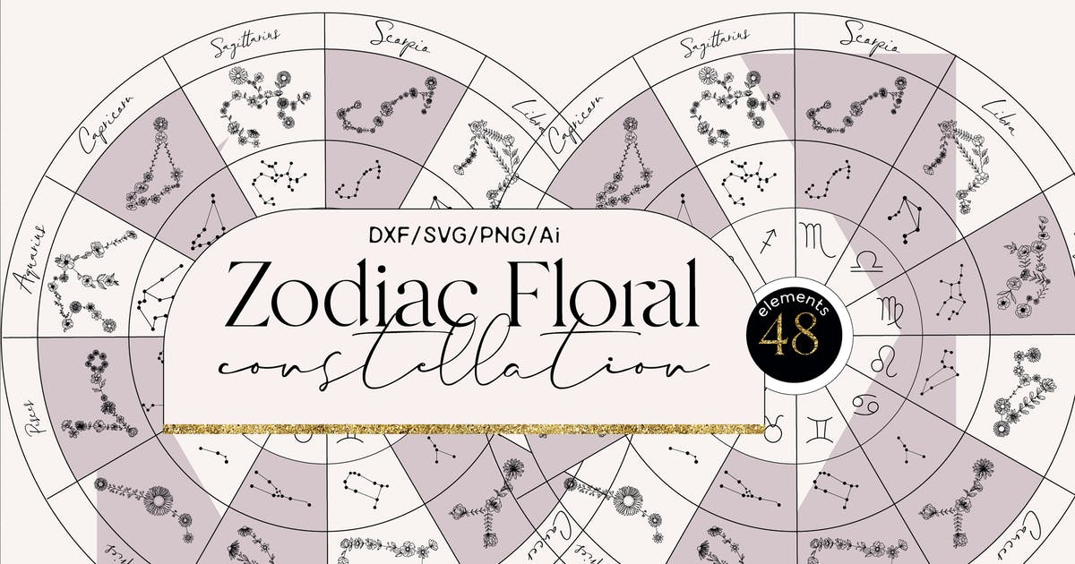 Download Zodiac floral constellation by a_slowik