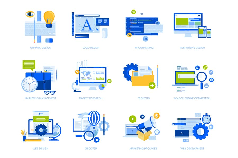Flat design concept icons collection