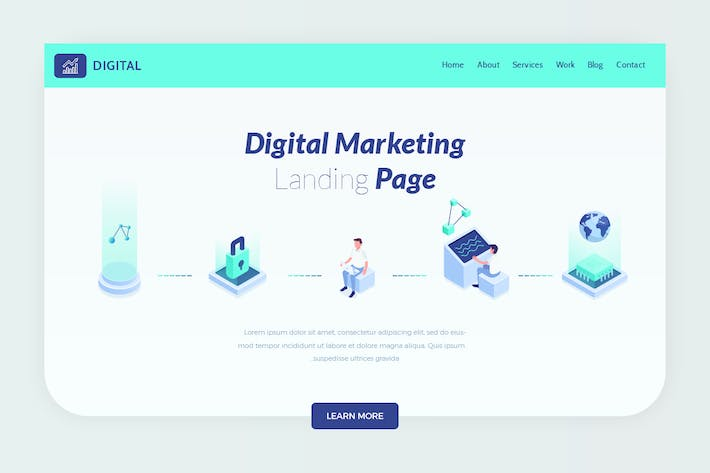 Digital - Isometric Website Hero Banner
